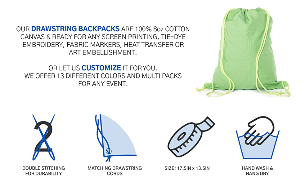 cotton drawstring cinh bag colorful material durable