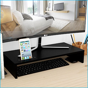 1home Wood Monitor Stand Riser, Desk TV Shelf with Cellphone Holder, Ergonomic Laptop Printer Stand with Cable Management for Laptop, Computer, Notebook, iMac, PC, 21.3 inches, Black ca0vAEmQLCB