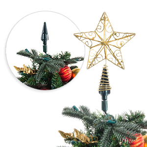Village Lighting Company Christmas Twist On Holiday Universal Tree Topper Holder Metal Green Support Rod With Adjustable Attachments To Stabilize