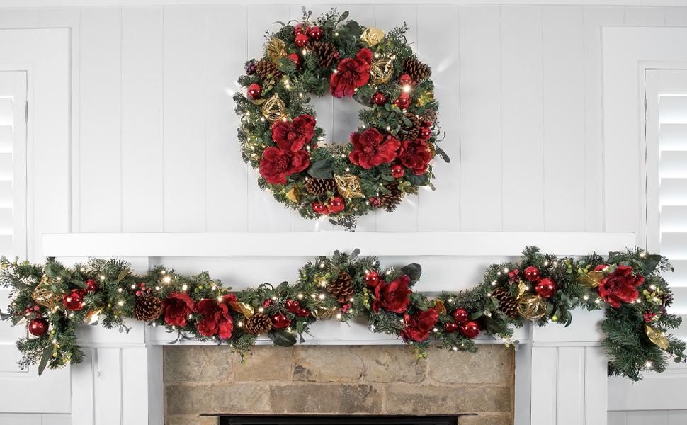 30 Inch Red Magnolia Decorated Artificial Christmas Wreath- Red and Gold Decoration - Battery Operated