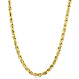 A gold filled rope chain necklace for men and women that is beautiful by  itself or with a pendant. This color gold rope chain necklace is crafted in  14k ... de9f843c2e