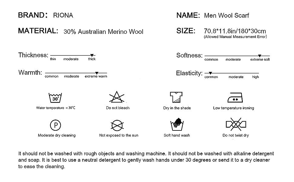 Amazon.com: RIONA - Bufanda de lana de merino australiana ...