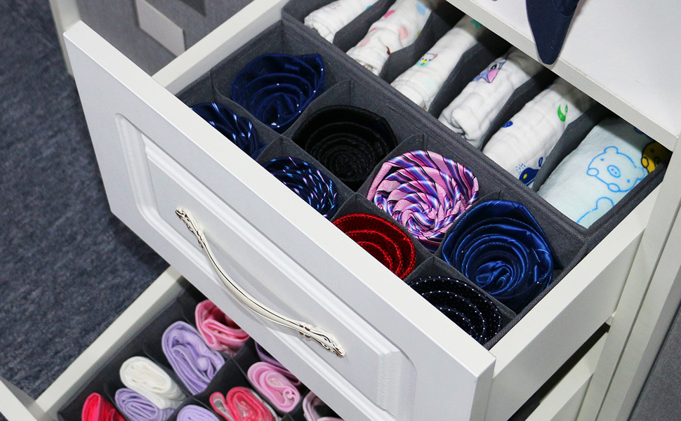 Great for drawers, dressers, closets, etc.The storage boxes are collapsible for easy storage.