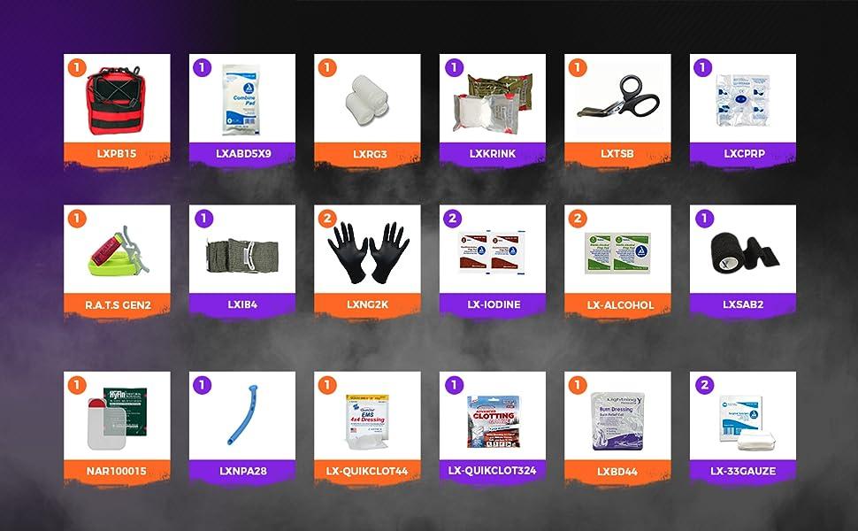 gunshot kit supplies ifak tourniquet quikclot contents