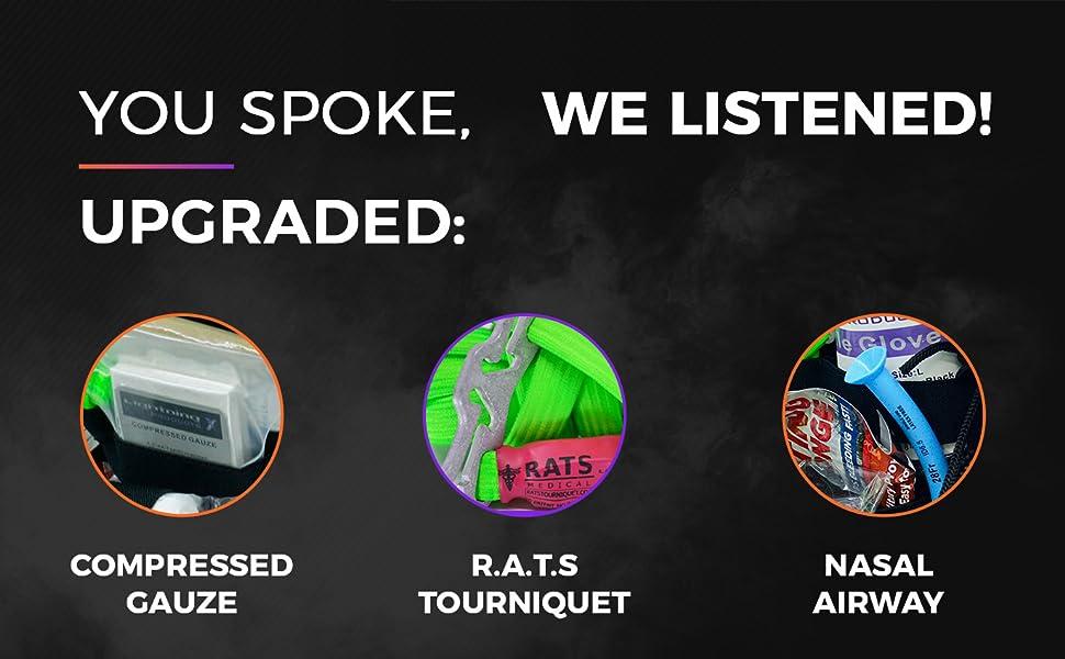 upgraded, ifak, pouch, gunshot, first aid kit, trauma, survival