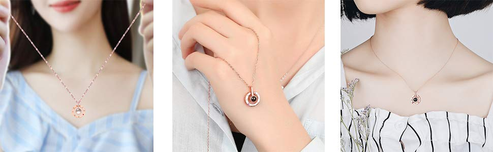 Love Necklace 925 Sterling Silver Necklace for Women 100 Languages I Love You Memory Necklace