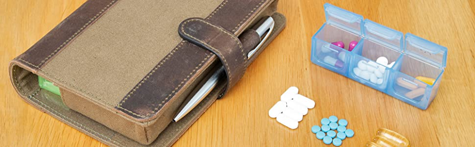 Genuine Leather & Canvas Pill Case