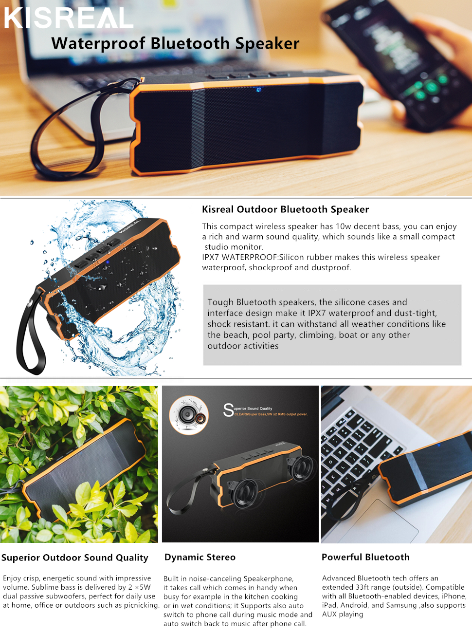 amazon com kisreal mini stereo bluetooth speakers portable