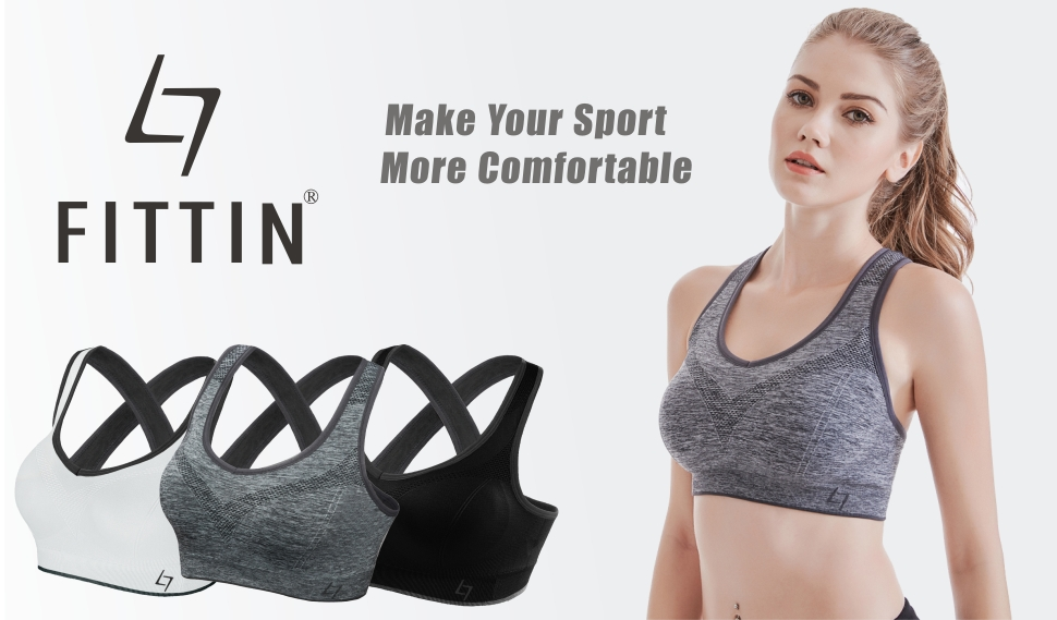 a5bede991c FITTIN Crossback Sports Bras - Padded Seamless Med Support for Yoga ...