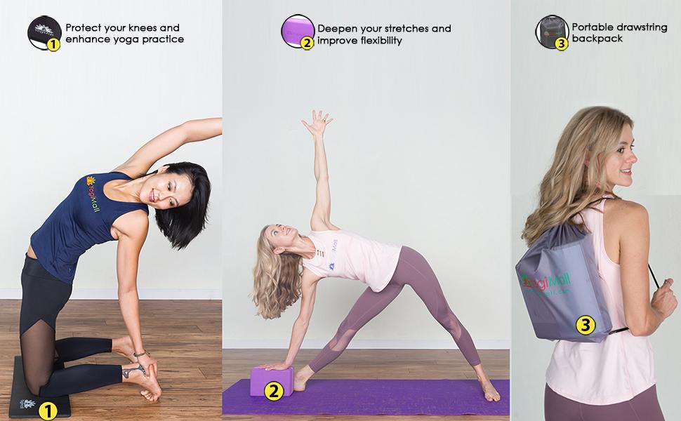 Amazon.com: YogiMall - Juego de rodilleras de yoga, bloque ...
