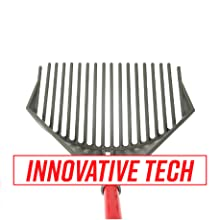 """Sky view of angled rake head with 18 prongs. Text reads """"Innovative Tech"""" in red lettering."""