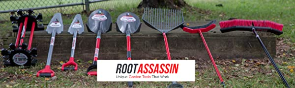 """Image of garden tools with white box reading """"Root Assassin: Unique Garden Tools That Work"""