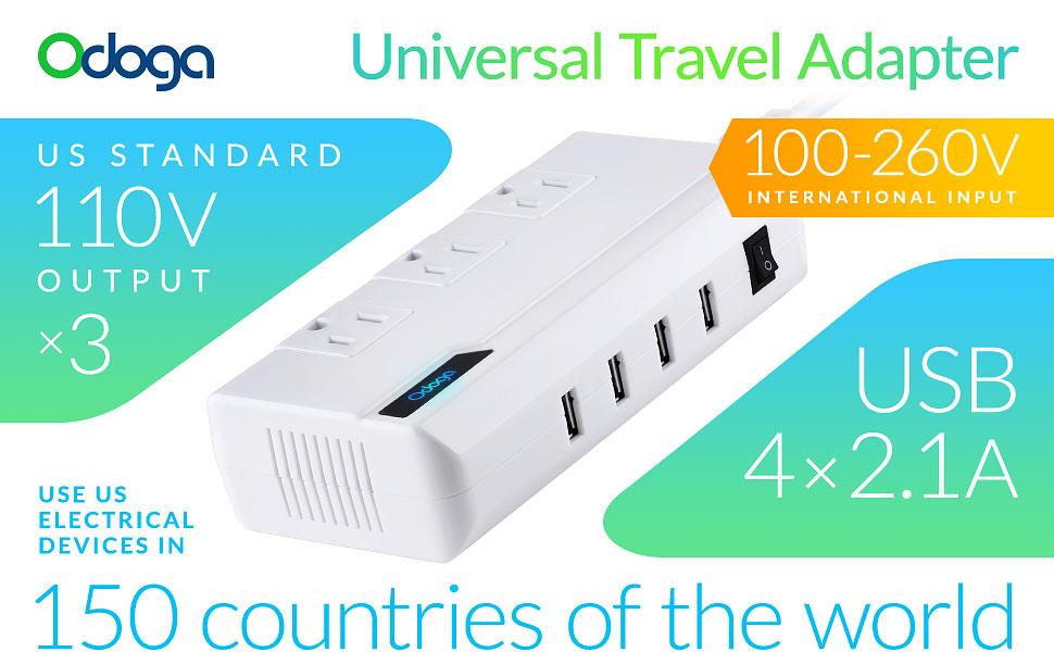 Amazon.com: Odoga Voltage Converter 220V to 110V With 4 USB Ports ...