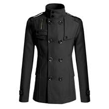 b980e5bd3 Mens Winter Stylish Wool Blend Double Breasted Military Pea Coat Slim Fit  Long Sleeve Casual Jacket ...