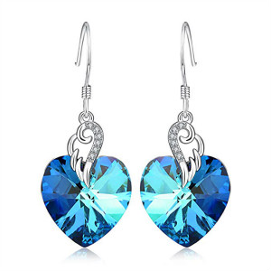 Angle Wings Blue Heart Earrings