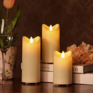 Amazon.com: Outdoor Moving Flame Led Candle With Timer, Ivory, 3x6 ...