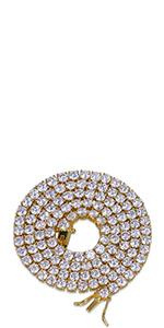 1 Row 4MM Rhinestone Tennis Necklace(Gold)