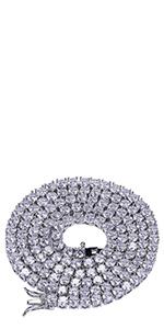 1 Row 4MM Rhinestone Tennis Necklace(Silver)