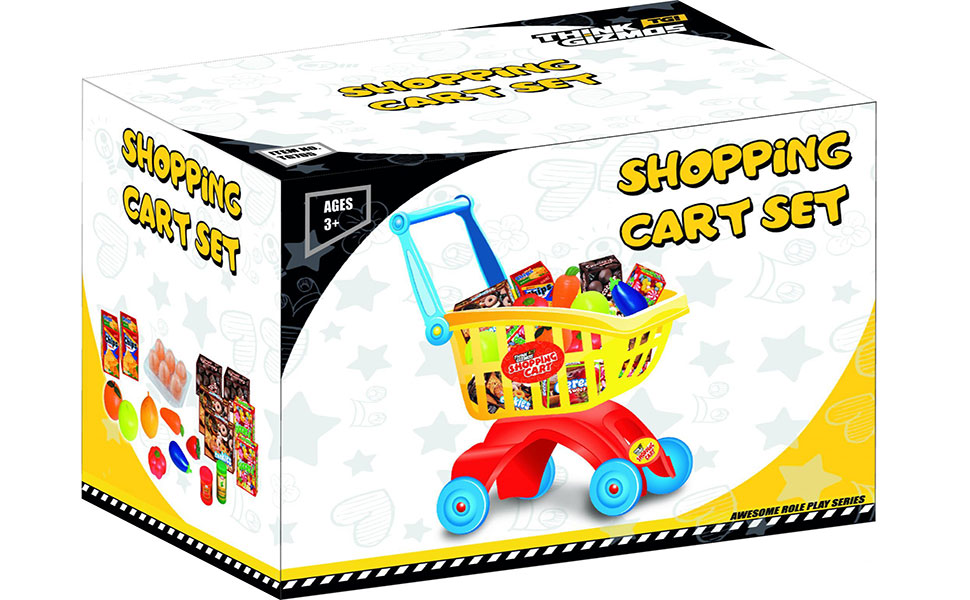 Shopping Cart Set TG705 - Toddler Play Set For Boys & Girls Aged 3+ By ThinkGizmos