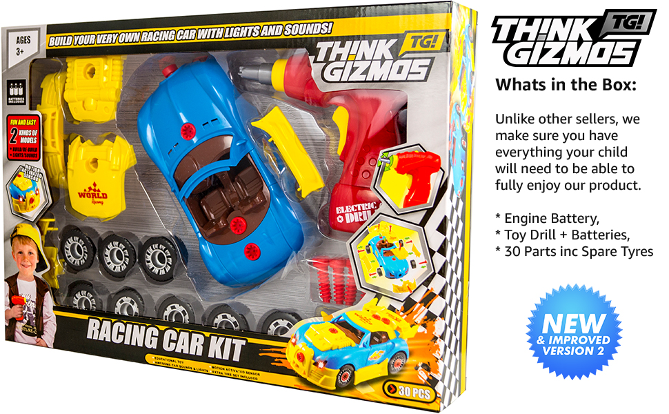take apart toy racing car kit for kids tg642 build your own racing car with this complete 30 piece construction set by thinkgizmos