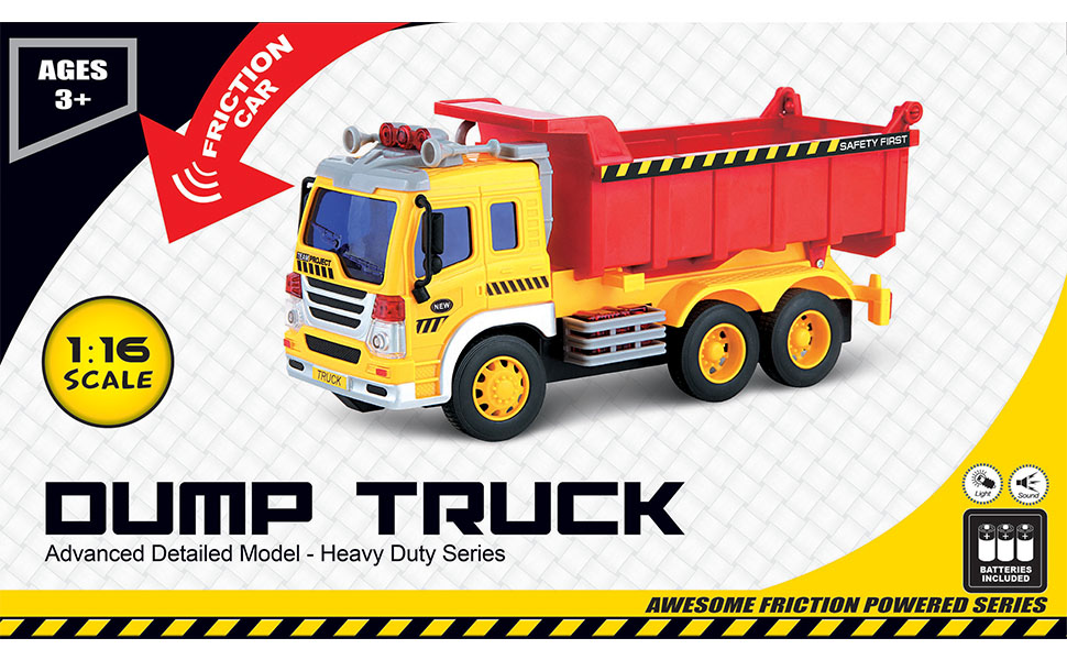 Think Gizmos Friction Toys for Boys & Girls - Toy Trucks for Toddlers  (Dumper Truck)