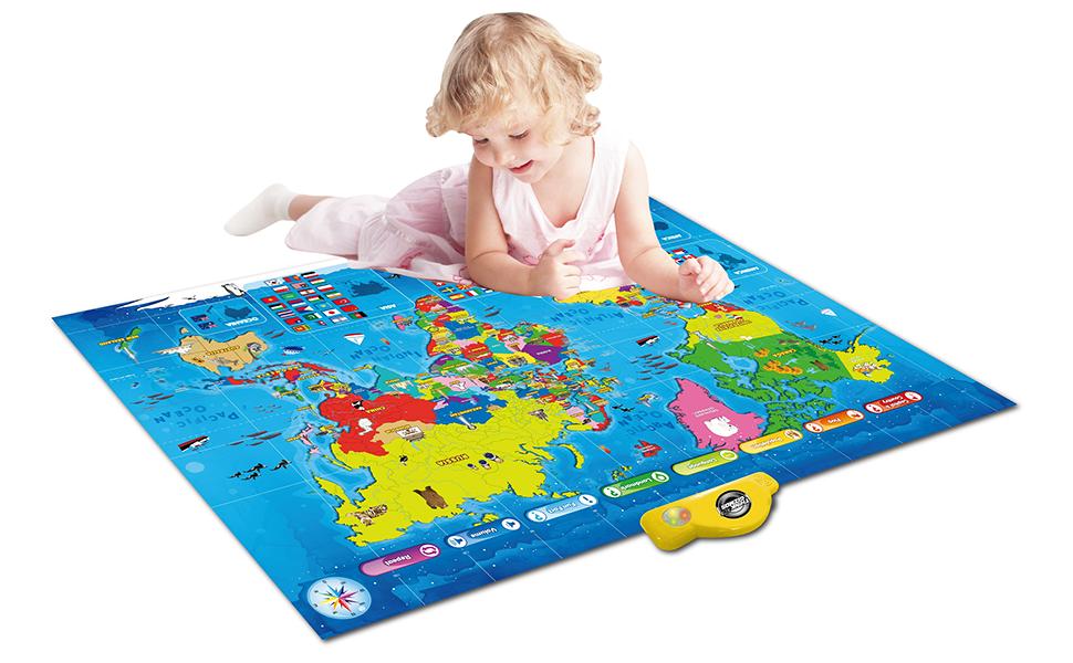 Interactive Talking World Map Amazon.com: Interactive Talking World Map for Kids TG661   Push
