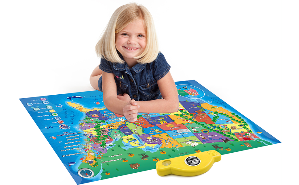 Amazoncom Interactive Talking USA Map For Kids TG Push - Interactive map for children