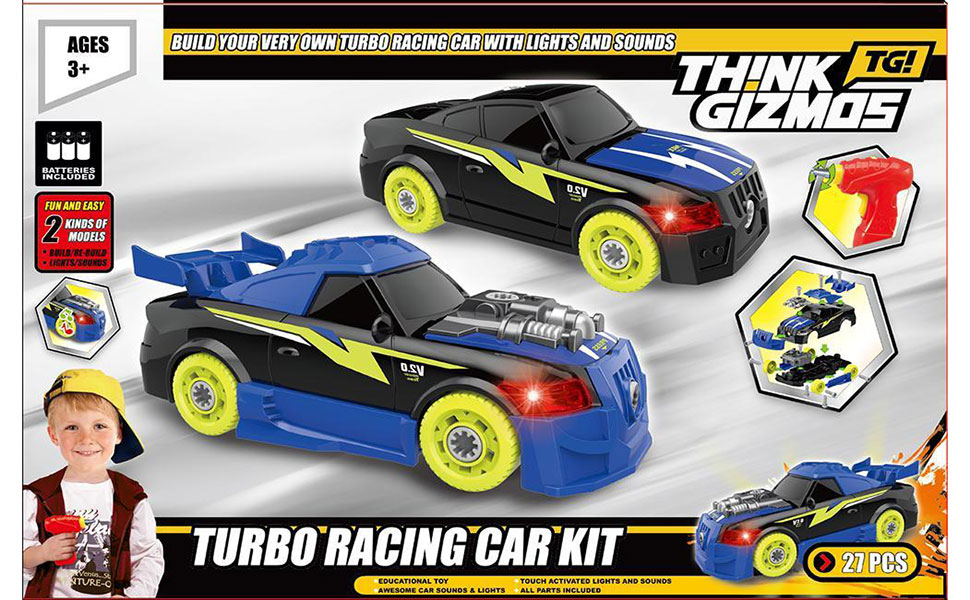 Take Apart Toy For Kids - Build Your Own Turbo Racing Car TG726 Toy for Boys & Girls Aged 3+ With 30 Parts with Realistic Sounds & Lights