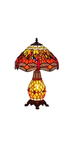 Bieye L10566 Dragonfly 12 inch Wide Tiffany Style Stained Glass Table Lamp with Lighted Base