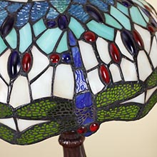 Bieye L11402 Dragonfly Tiffany Style Stained Glass Lamp Shade