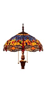 Bieye L10703 65 inch Dragonfly Tiffany Style Stained Glass Floor Lamp, Orange Blue