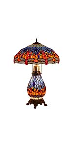 Bieye L10545 18-inches Dragonfly Tiffany Style Stained Glass Table Lamp with Lighted Base