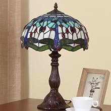Bieye L11402 Dragonfly Tiffany Style Stained Glass Table Lamp