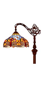 Bieye L10702 Dragonfly 62 inch Tiffany Style Stained Glass Floor Reading Lamp, Orange Blue