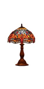 Bieye L10689 Dragonfly Tiffany Style Stained Glass Table Lamp with 12 Inch Wide Handmade Shade