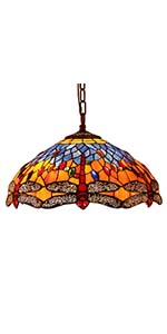 Bieye L10709 16-inches Dragonfly Tiffany Style Stained Glass Ceiling Pendant Fixture, Orange Blue