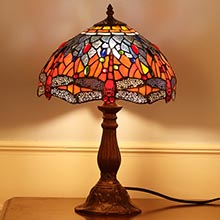 Bieye L10689 Dragonfly 12 Inch Tiffany Style Stained Glass Table Lamp