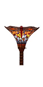 Bieye L10710 Dragonfly 71 inch Tiffany Style Stained Glass Torchiere Floor Lamp, Orange Blue