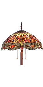 Bieye L11404 Dragonfly 18 Inch Wide Tiffany Style Stained Glass Floor Lamp, 3-Light