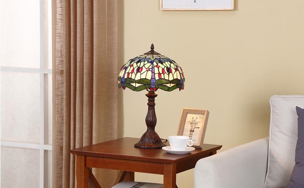 Bieye L11042 Dragonfly 12 Inch Tiffany Style Stained Glass Table Lamp