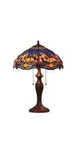 Bieye L10690 Dragonfly Tiffany Style Stained Glass Table Lamp with 16 Inch Wide Handmade Shade