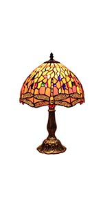 Bieye L10640 Dragonfly 12 Inch Tiffany Style Stained Glass Table Lamp
