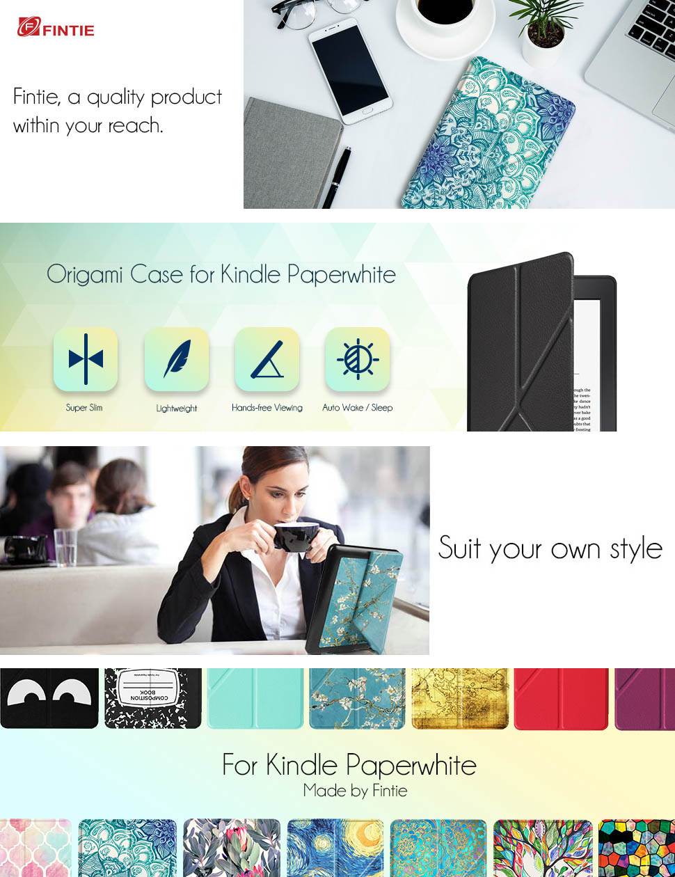 Blossom The Thinnest and Lightest PU Leather Cover for All-New  Kindle Paperwhite Fintie Origami Case for Kindle Paperwhite Fits All Versions: 2012, 2013, 2015 and 2016 New 300 PPI