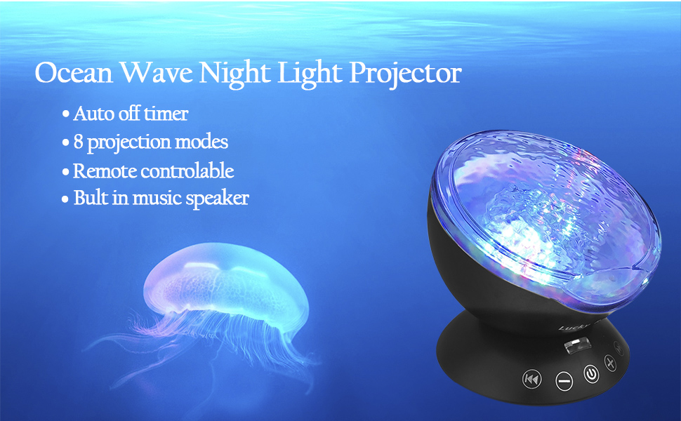 Ocean Wave Night Light Projector with Music Player Romantic Color Changing  LED Party