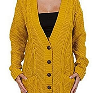 Ogluxe Womens Ladies Long Sleeve Pocket Cable Knit Chunky Cardigan