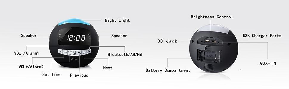 Amazon.com: OnLyee - Reloj de radio con alarma Bluetooth ...