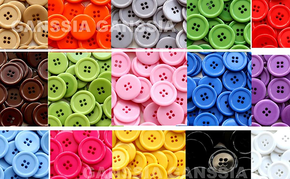 Mahaohao 1 Inch Buttons 25mm Sewing Flatback Resin Button White Color Pack of 100