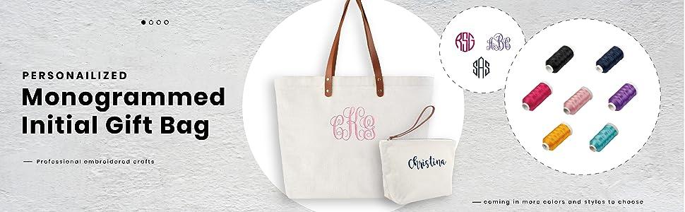 personalized gift bag monogrammed shoulder bag initial canvas bag