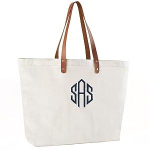 Personalized Monogram Tote Large Bridesmaid Monogram Weekend Tote Bride Gift Navy Embroidered Custom Monogram Weekender Bag