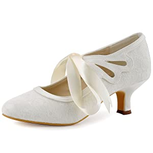 ivory wedding shoes for bride low heel bridal shoes